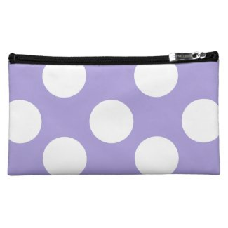 Purple and White Polka Dot Cosmetic Bag