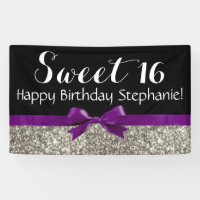 Purple Bow Silver Glitter Sweet 16 Birthday Party Banner