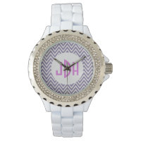 Purple Chevron Monogram White Enamel Watch