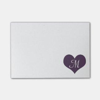 Purple heart post-it notes