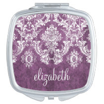 Purple Damask Makeup Mirrors