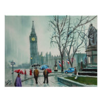 Rainy day in London people with umbrellas Poster