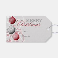 Red and Silver Festive Christmas Gift Tags