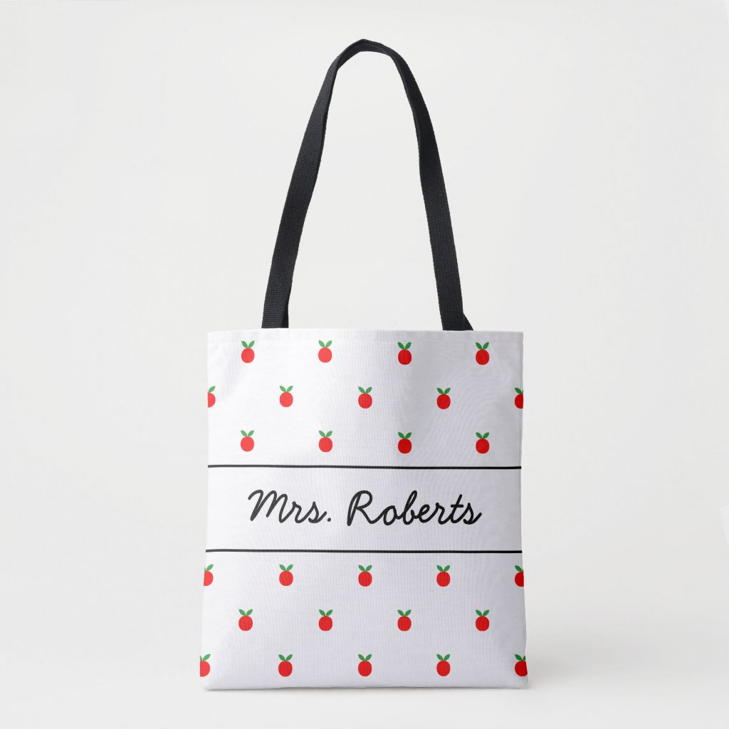 Red apple school teacher tote bag