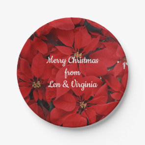 Red Christmas Poinsettias, Merry Christmas Paper Plate