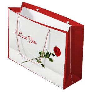 Red Rose I love You design Large Gift Bag