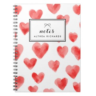 Red Watercolor Hearts Pattern Personalised Notebook