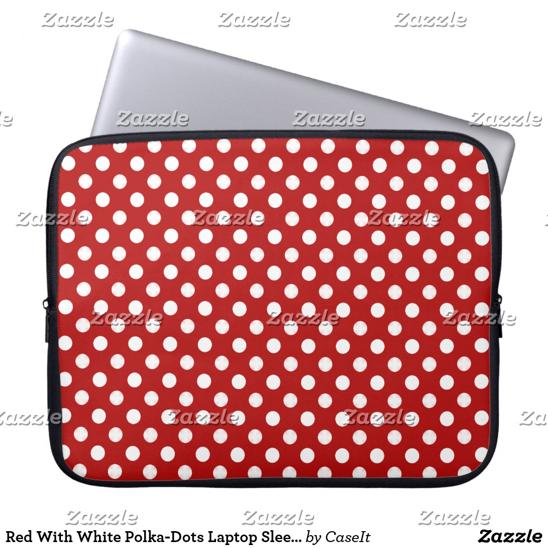 Red With White Polka-Dots Laptop Sleeve