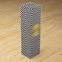 Retro Black and White Pattern Gold Name Wine Box