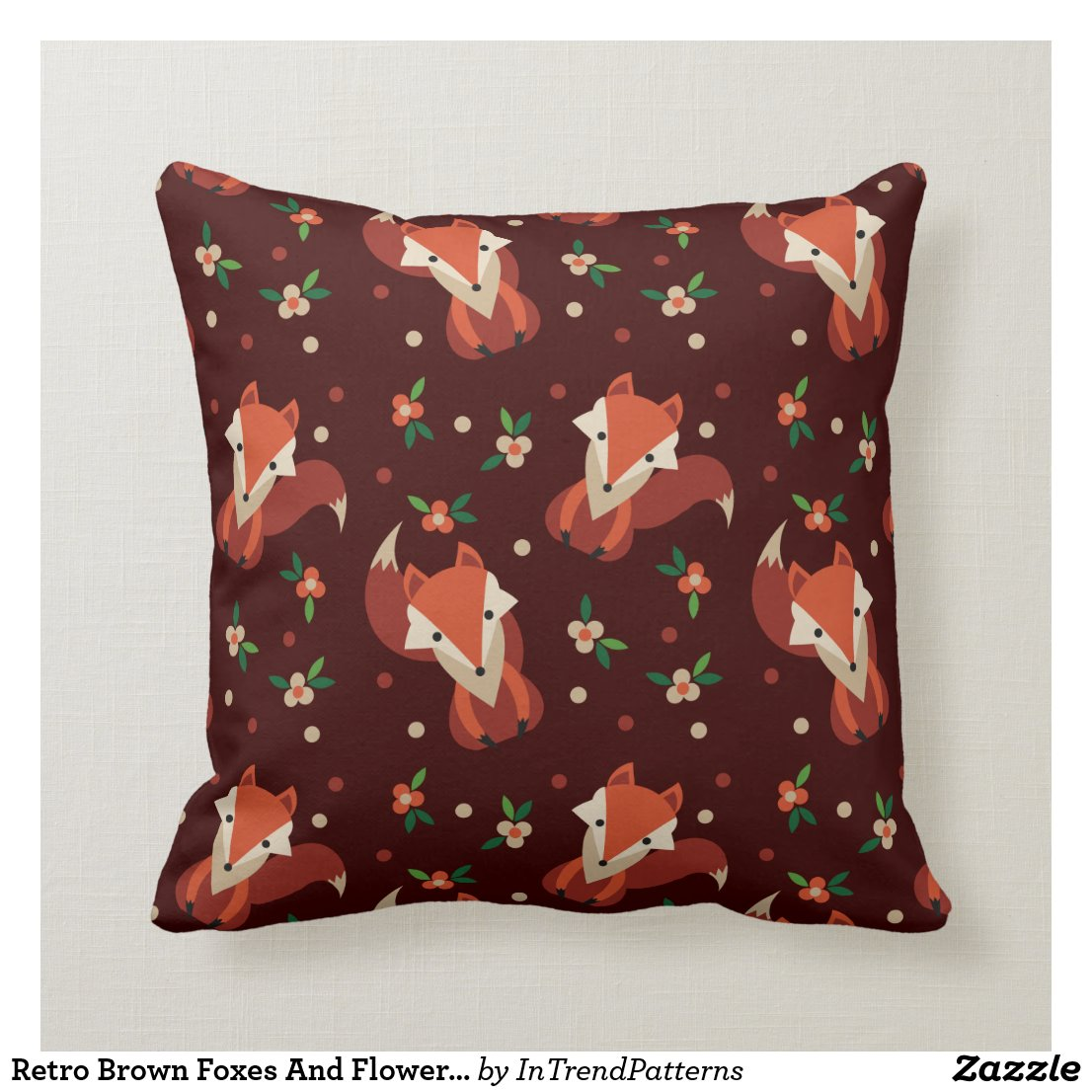 Retro Brown Foxes And Flowers Pattern Cushion