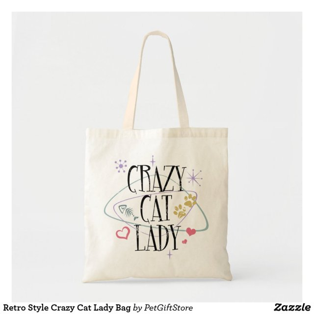 Retro Style Crazy Cat Lady Bag