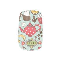 Retro Tea Time Tea Party Kitchen Breakfast Pattern Minx® Nail Wraps
