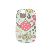 Retro Tea Time Tea Party Kitchen Breakfast Pattern Minx® Nail Wraps