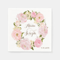 Romantic Floral Wreath Wedding Napkin Standard Cocktail Napkin