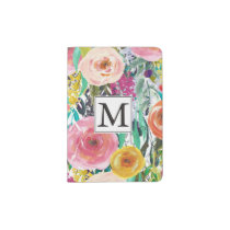 Romantic Garden Watercolor Flowers Monogram Passport Holder