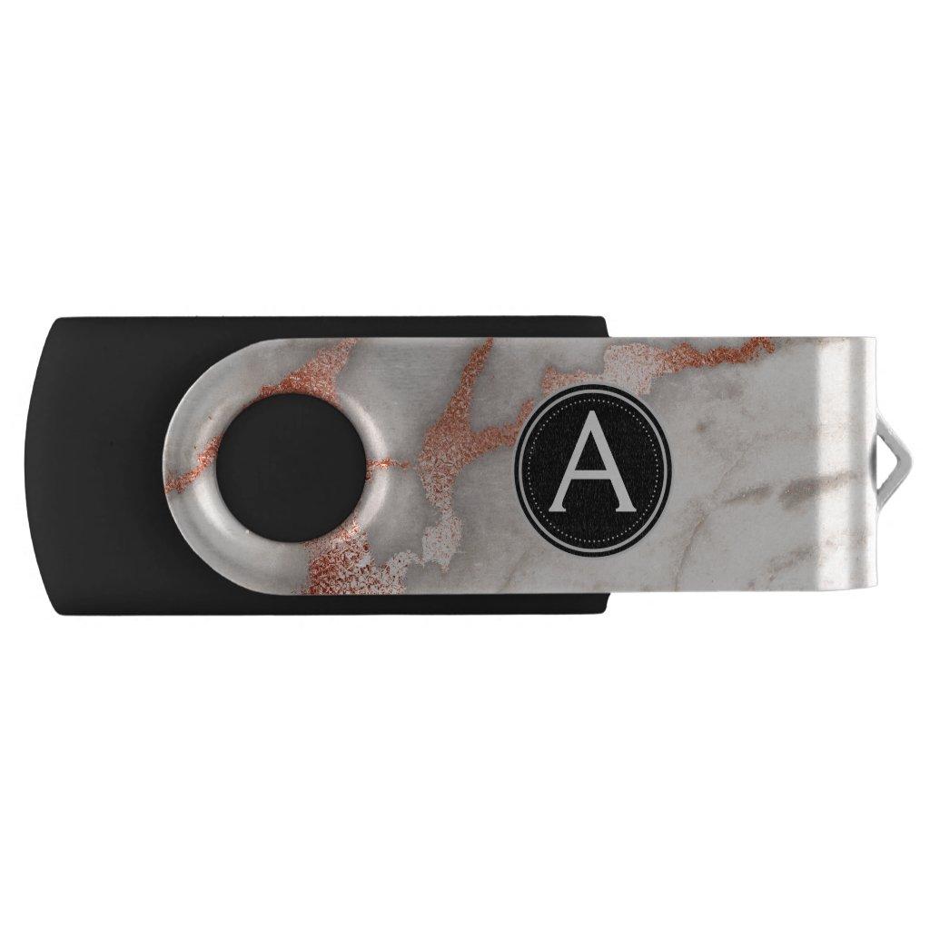 Rose Gold Marble Monogram USB Thumb Drive