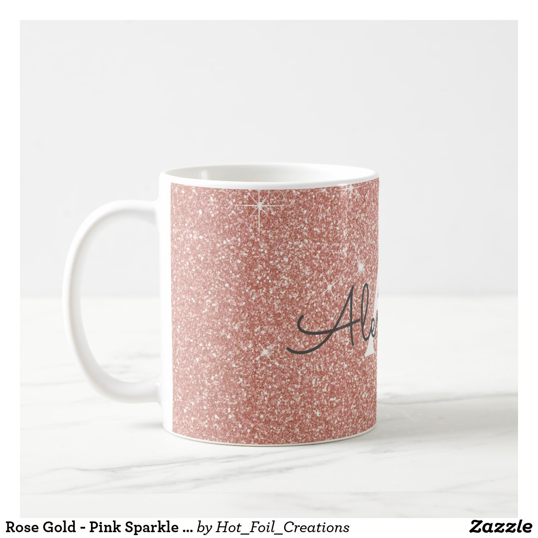 Rose Gold Sparkle Glitter Monogram Name & Initial Mug