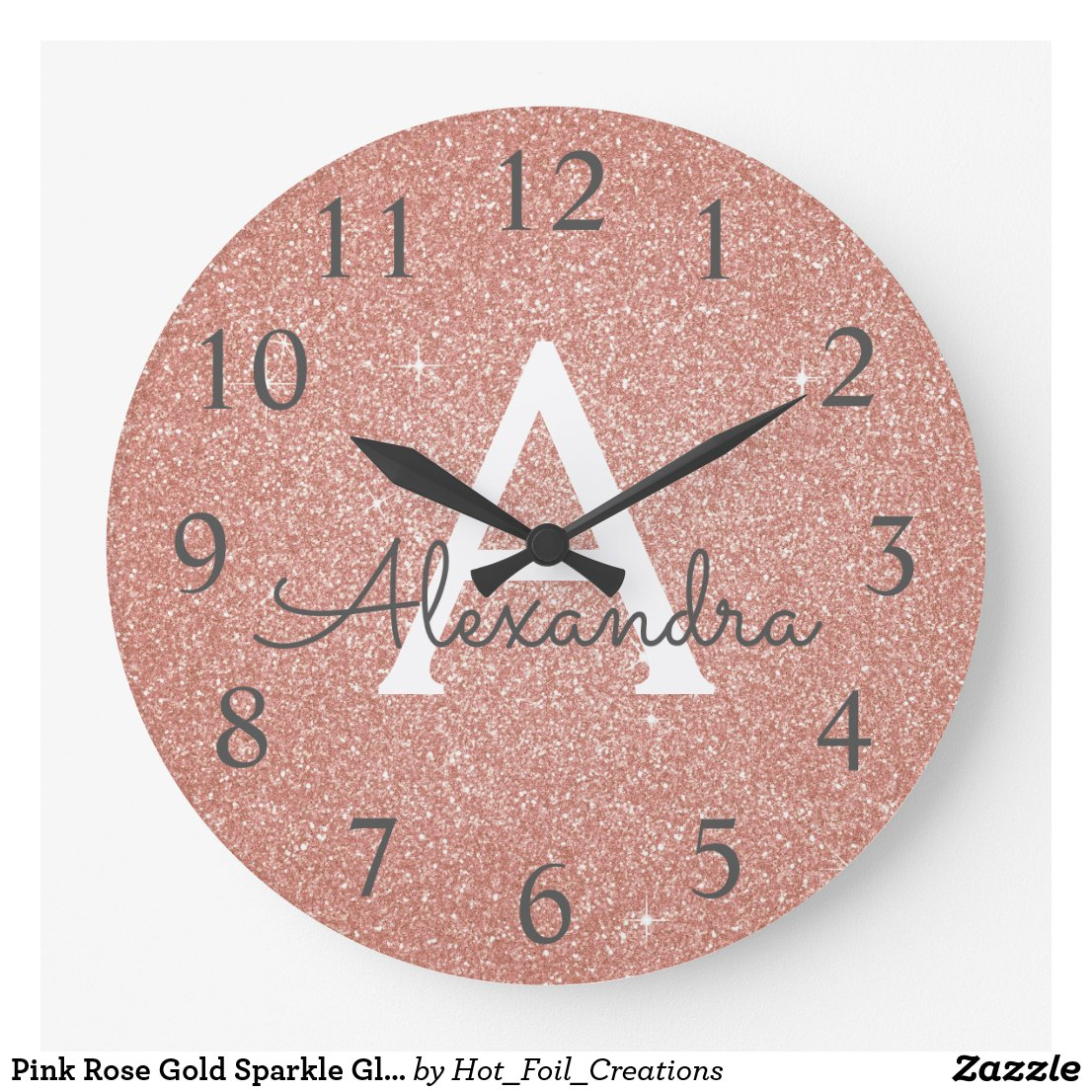 Sparkle Glitter Monogram Clock