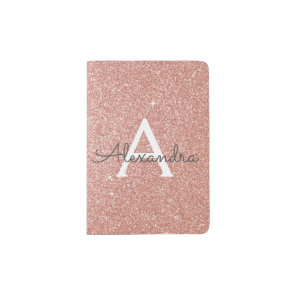 Rose Gold Sparkle Glitter Monogram Name Passport Holder