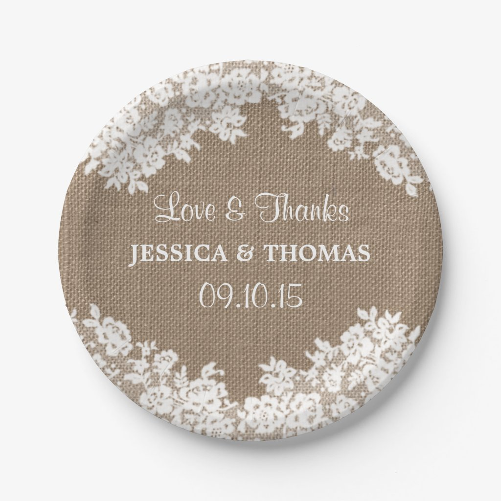 Rustic Burlap & White Lace Wedding Paper Plates