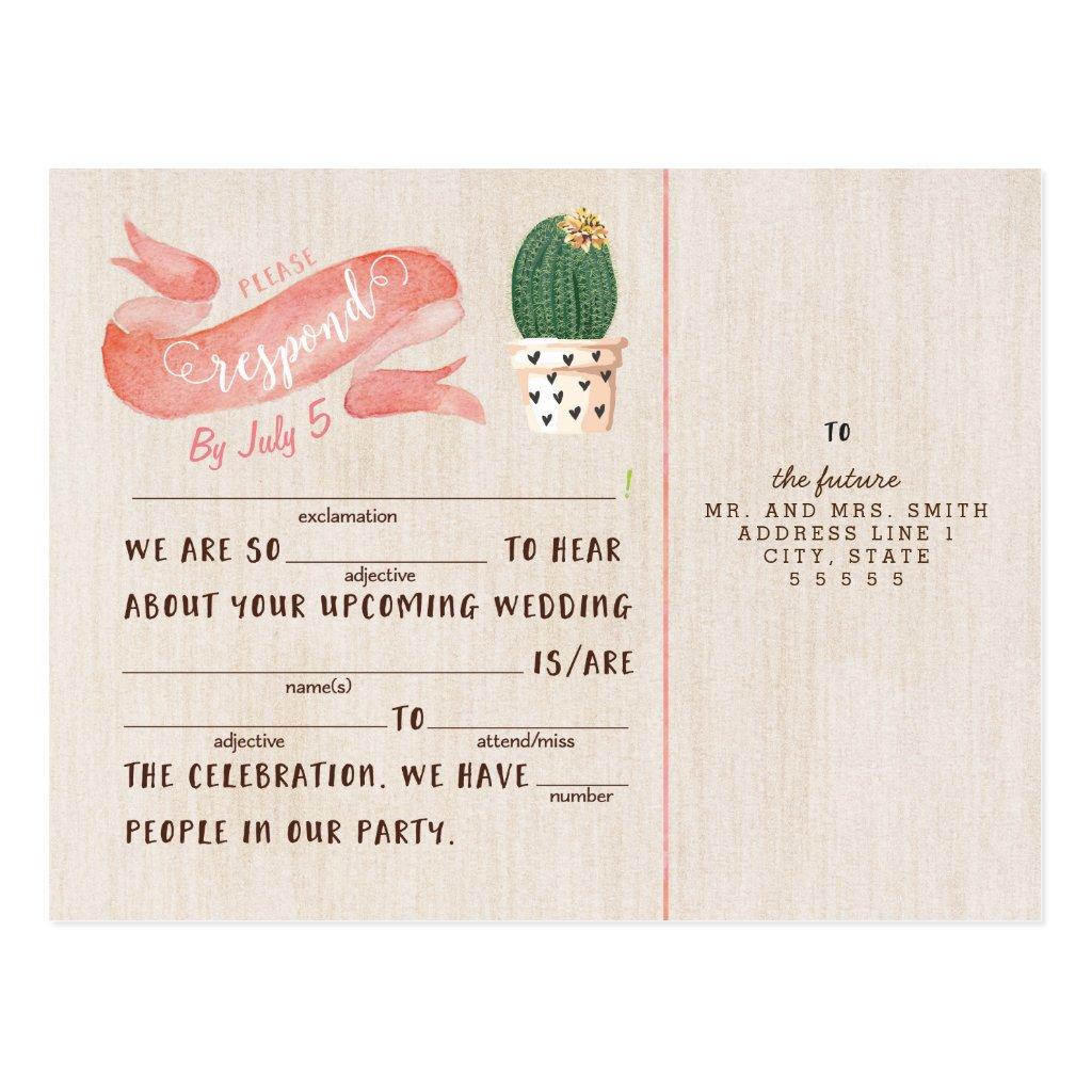 Rustic Cactus RSVP Postcard