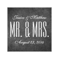 Rustic Chalkboard Style Wedding Canvas Print