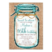 Rustic Country Mason Jar Birthday Invitation