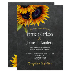 Rustic elegant sunflower chalkboard wedding invitation