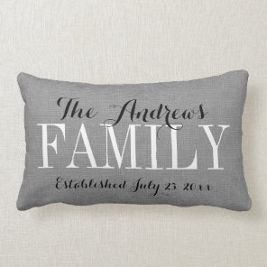 Rustic Grey Family Monogram and Wedding Date Lumbar Cushion