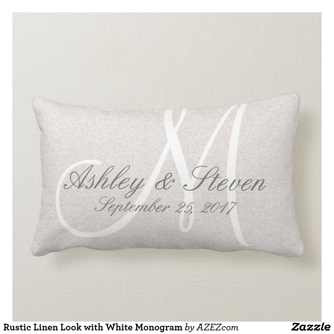 Rustic Linen Look with White Monogram Cushion
