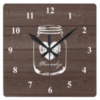 Rustic mason jar wood grain panel wall clock