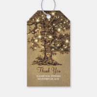 Rustic Old Tree & String Lights Wedding Thank You Pack Of Gift Tags
