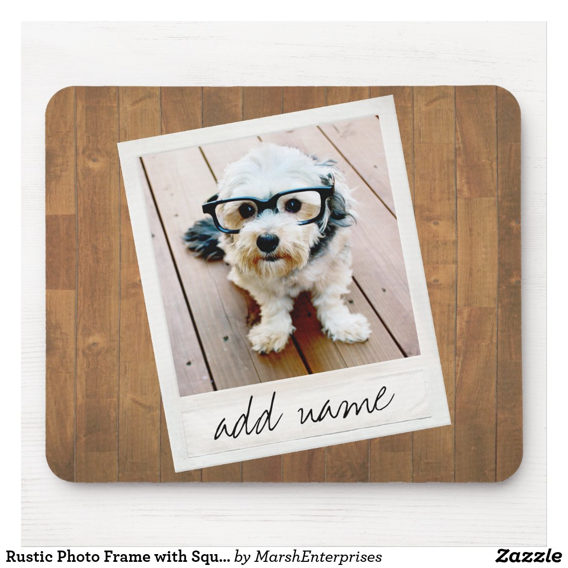 Rustic Photo Frame with Square Instagram and Wood Mouse Mat