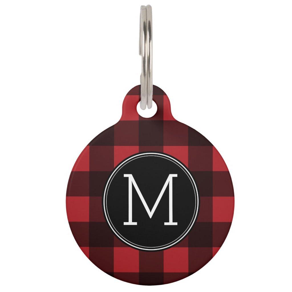 Rustic Red & Black Buffalo Plaid Pattern Monogram Pet Tag