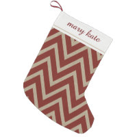 Rustic Red Faux Burlap Chevron Pattern Small Christmas Stocking