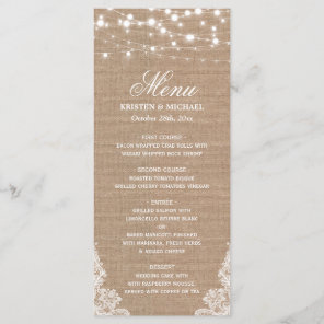 Rustic Shabby Wedding Menu | String Lights Lace