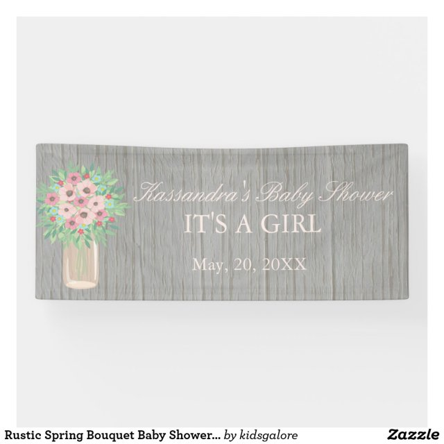 Rustic Spring Bouquet Baby Shower Banner