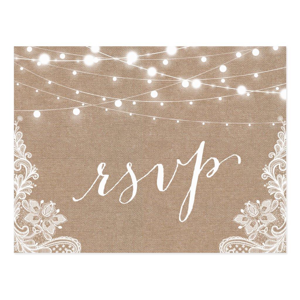 Rustic String Lights Burlap Lace Wedding RSVP