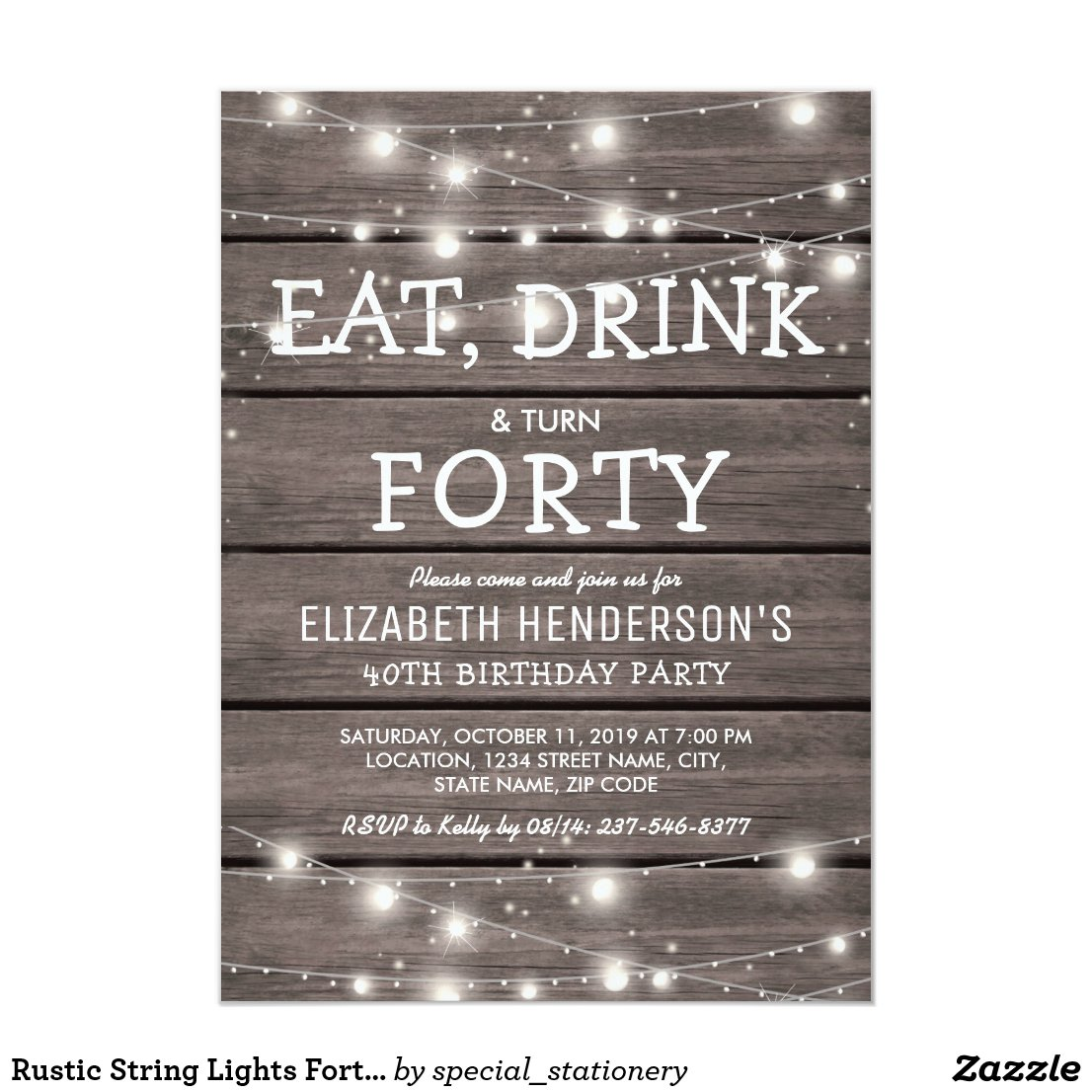 Rustic String Lights Forty Birthday Party | 40th Card