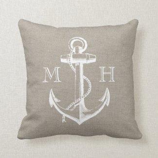 Rustic Vintage Anchor Wedding Monogram Cushion