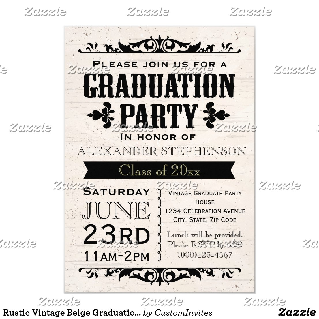 Rustic Vintage Beige Graduation Party Invitation
