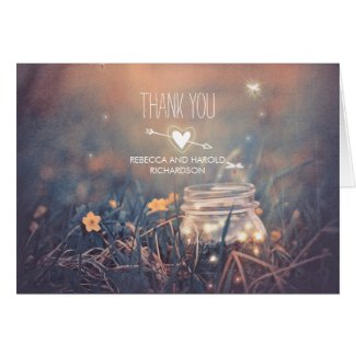 Rustic Wedding Thank You with Fireflies Mason Jar Card