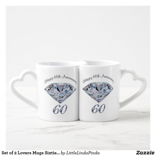 Set of 2 Lovers Mugs Sixtieth Anniversary Gifts
