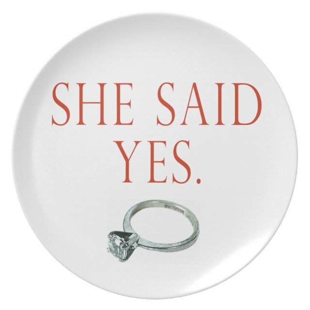 She Said Yes Engagement Plate