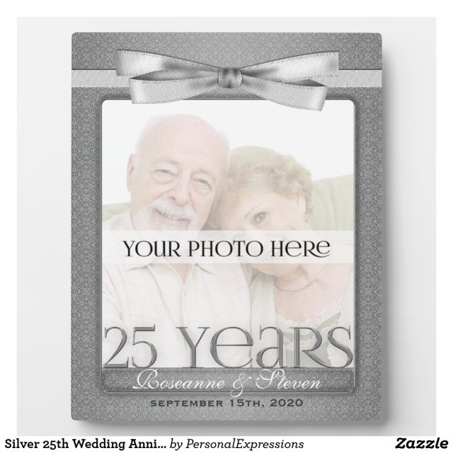 Silver 25th Wedding Anniversary Photo Frame
