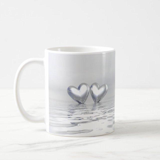 Silver Anniversary Hearts Mug