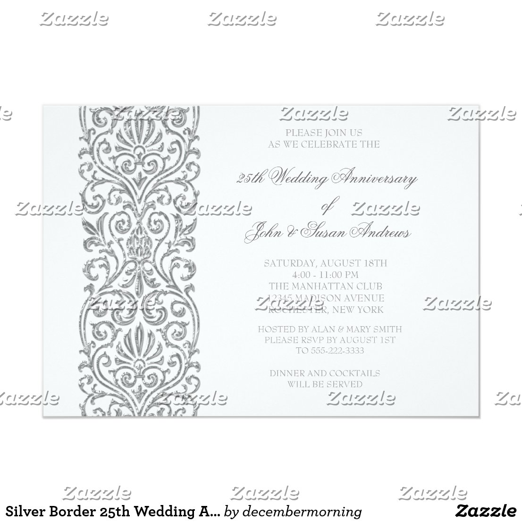 Silver Border 25th Wedding Anniversary Party Card