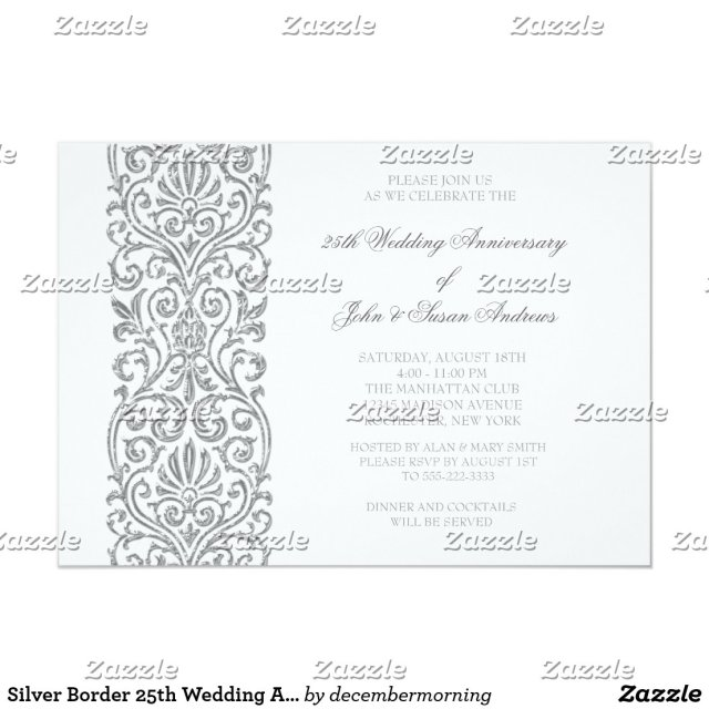Silver Border 25th Wedding Anniversary Party Card