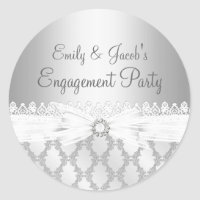 Silver Diamond & Lace Engagement Sticker
