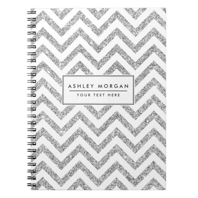Silver Glitter Zigzag Stripes Chevron Pattern Notebook